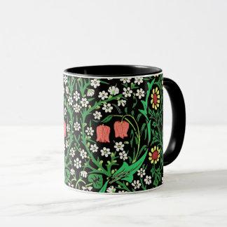 William Morris Jacobean Floral, Black Background Mug