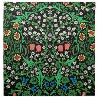 William Morris Jacobean Floral, Black Background Napkin