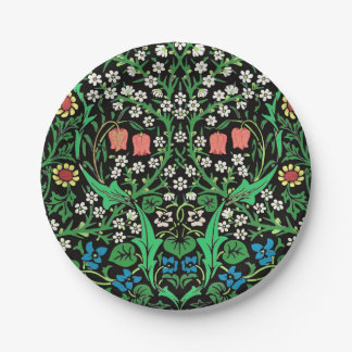 William Morris Jacobean Floral, Black Background Paper Plate