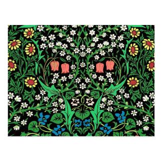 William Morris Jacobean Floral, Black Background Postcard