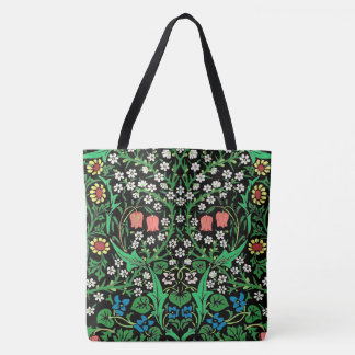 William Morris Jacobean Floral, Black Background Tote Bag