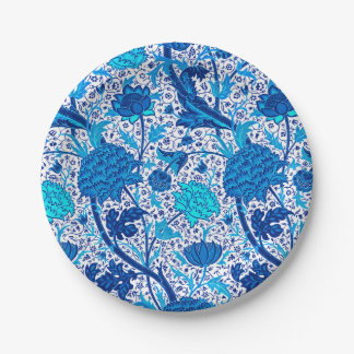 William Morris Jacobean Floral, Cobalt Blue Paper Plate