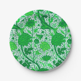 William Morris Jacobean Floral, Emerald Green Paper Plate