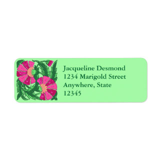 William Morris Jacobean, Fuchsia Pink and Green Return Address Label