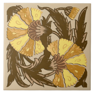 William Morris Jacobean, Mustard Gold and Brown Ceramic Tile