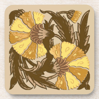 William Morris Jacobean, Mustard Gold and Brown Coaster