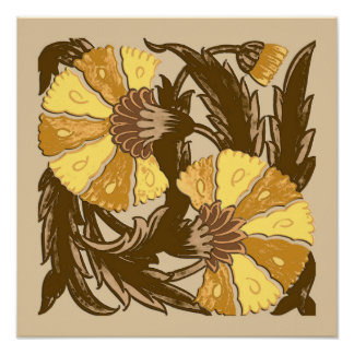William Morris Jacobean, Mustard Gold and Brown Poster