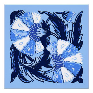 William Morris Jacobean, Navy and Light Blue Poster