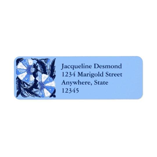 William Morris Jacobean, Navy and Light Blue Return Address Label