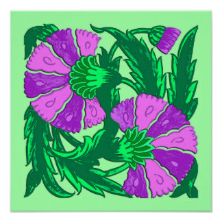 William Morris Jacobean, Orchid Purple and Green Poster