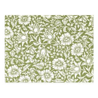 William Morris Mallow Green Pattern Postcard