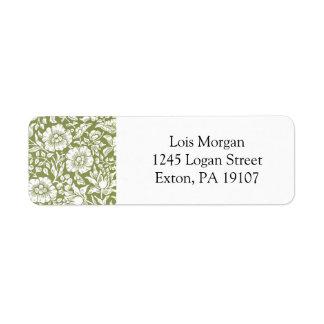 William Morris Mallow Green Pattern Return Address Label