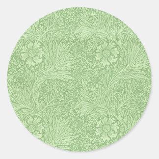 William Morris Marigold (Green) Classic Round Sticker