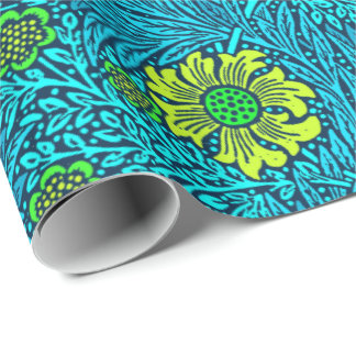 William Morris Marigold, Turquoise & Cobalt Blue Wrapping Paper