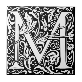 William Morris Monogrammed Letter M Ceramic Tile