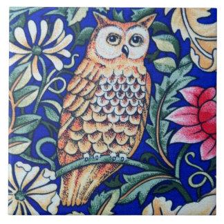 William Morris Owl Tapestry, Beige and Cobalt Blue Large Square Tile