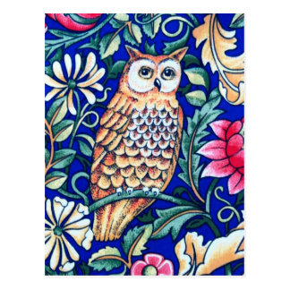 William Morris Owl Tapestry, Beige and Cobalt Blue Postcard