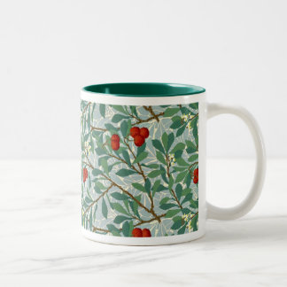 William Morris Pattern in Berry Red and Turquoise Two-Tone Coffee Mug