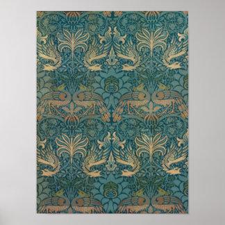 William Morris Peacock and Dragon Textile Design Poster