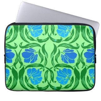William Morris Pimpernel, Blue & Lime Green Computer Sleeve