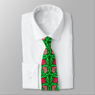 William Morris Pimpernel, Coral Pink and Green Tie