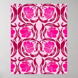 William Morris Pimpernel, Fuchsia & Light Pink Poster