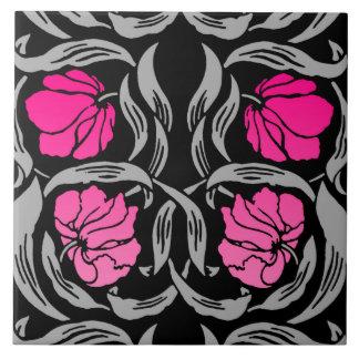 William Morris Pimpernel, Fuchsia Pink and Black Ceramic Tile