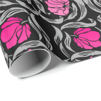 William Morris Pimpernel, Fuchsia Pink and Black Wrapping Paper