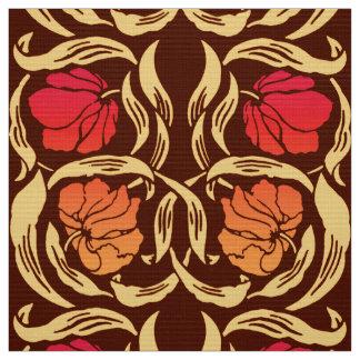 William Morris Pimpernel, Rust Orange and Brown Fabric