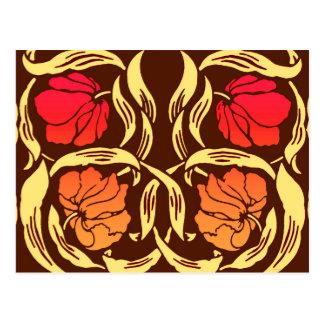 William Morris Pimpernel, Rust Orange and Brown Postcard