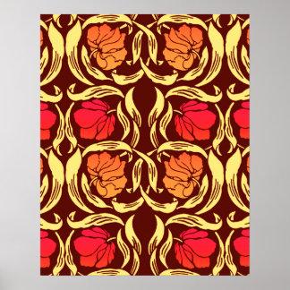 William Morris Pimpernel, Rust Orange and Brown Poster