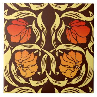 William Morris Pimpernel, Rust Orange and Brown Tile