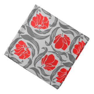 William Morris Pimpernel, Silver Gray and Red Bandanas