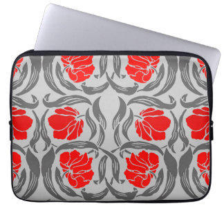 William Morris Pimpernel, Silver Gray and Red Laptop Sleeve