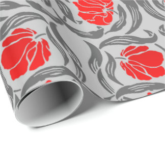 William Morris Pimpernel, Silver Gray and Red Wrapping Paper