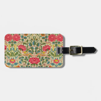 William Morris Rose Floral Vintage Luggage Tag