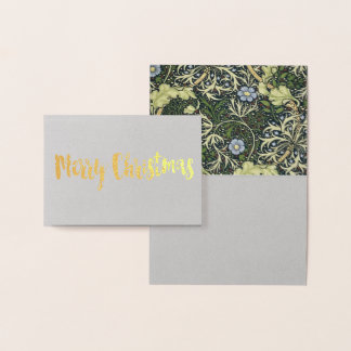 William Morris Seaweed Pattern Floral Vintage Art Foil Card
