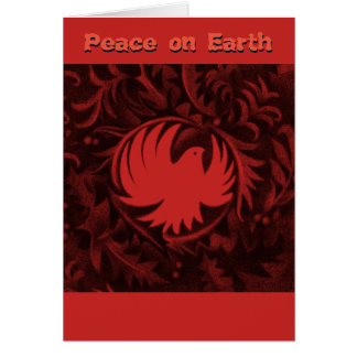 William Morris-style peace dove christmas card