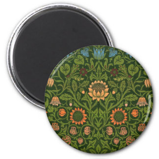 William Morris Tapestry Rug Red Green Carpet Asian 6 Cm Round Magnet