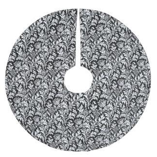 William Morris Thistle Damask, Black and White Brushed Polyester Tree Skirt