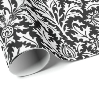 William Morris Thistle Damask, Black and  White Wrapping Paper