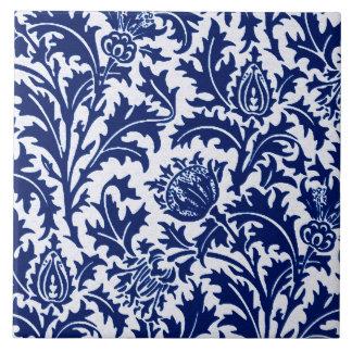 William Morris Thistle Damask, Cobalt Blue & White Ceramic Tile