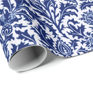 William Morris Thistle Damask, Cobalt Blue & White Wrapping Paper
