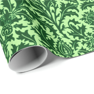 William Morris Thistle Damask, Emerald Green Wrapping Paper