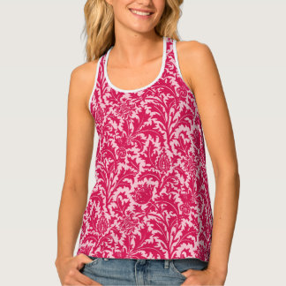 William Morris Thistle Damask, Fuchsia Pink Singlet