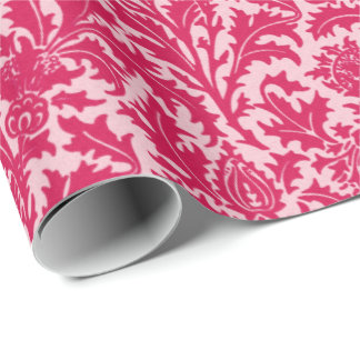 William Morris Thistle Damask, Fuchsia Pink Wrapping Paper