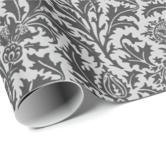 William Morris Thistle Damask, Silver Gray / Grey Wrapping Paper