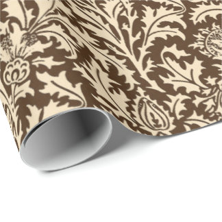 William Morris Thistle Damask, Taupe Tan & Beige Wrapping Paper