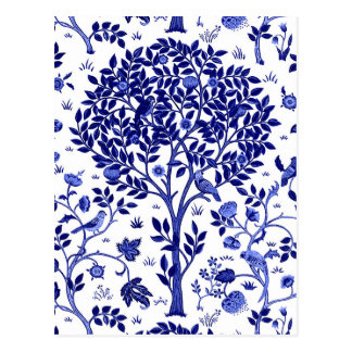 William Morris Tree of Life, Cobalt Blue and White Postcard
