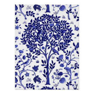 William Morris Tree of Life, Cobalt Blue and White Poster